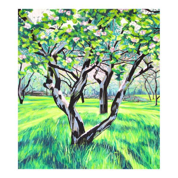 Appelboomgaard II, 90 x 80 cm, olieverf, spuitlak en acrylstift op doek