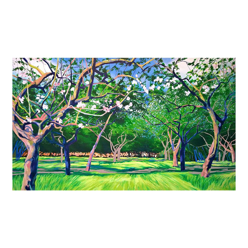 Appelboomgaard III, 120 x 200 cm, olieverf, spuitlak en acrylstift op doek