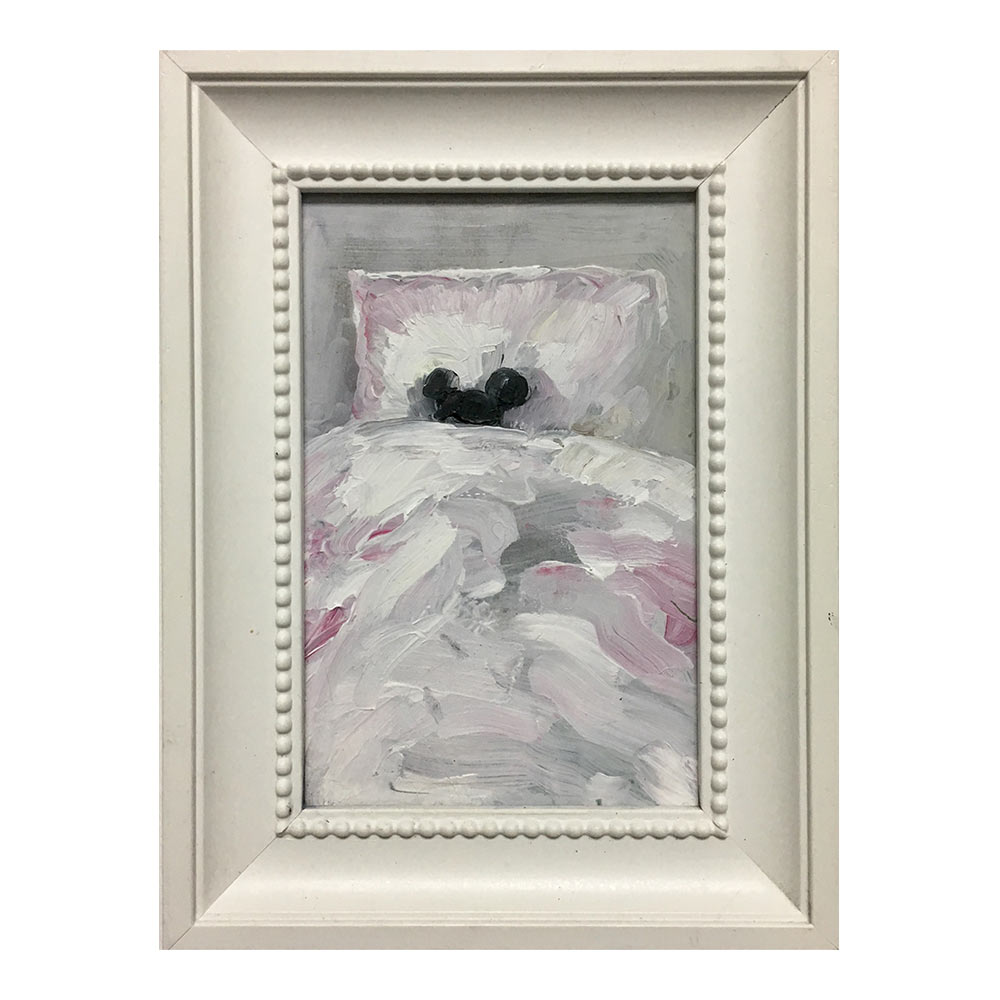 Bed, 19,5 x 14,5 cm, acrylic paint on pannel in frame