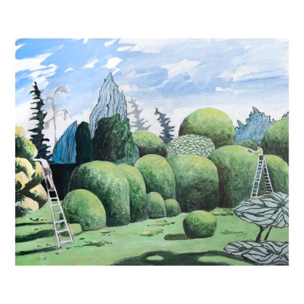 Binnentuin 1, 100 x 120 cm, acrylverf en tempera op doek
