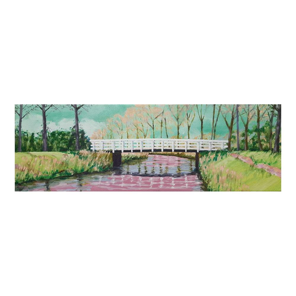 Brug over rivier de Dommel, 20 x 60 cm, olieverf, spuitlak en acrylstift op doek