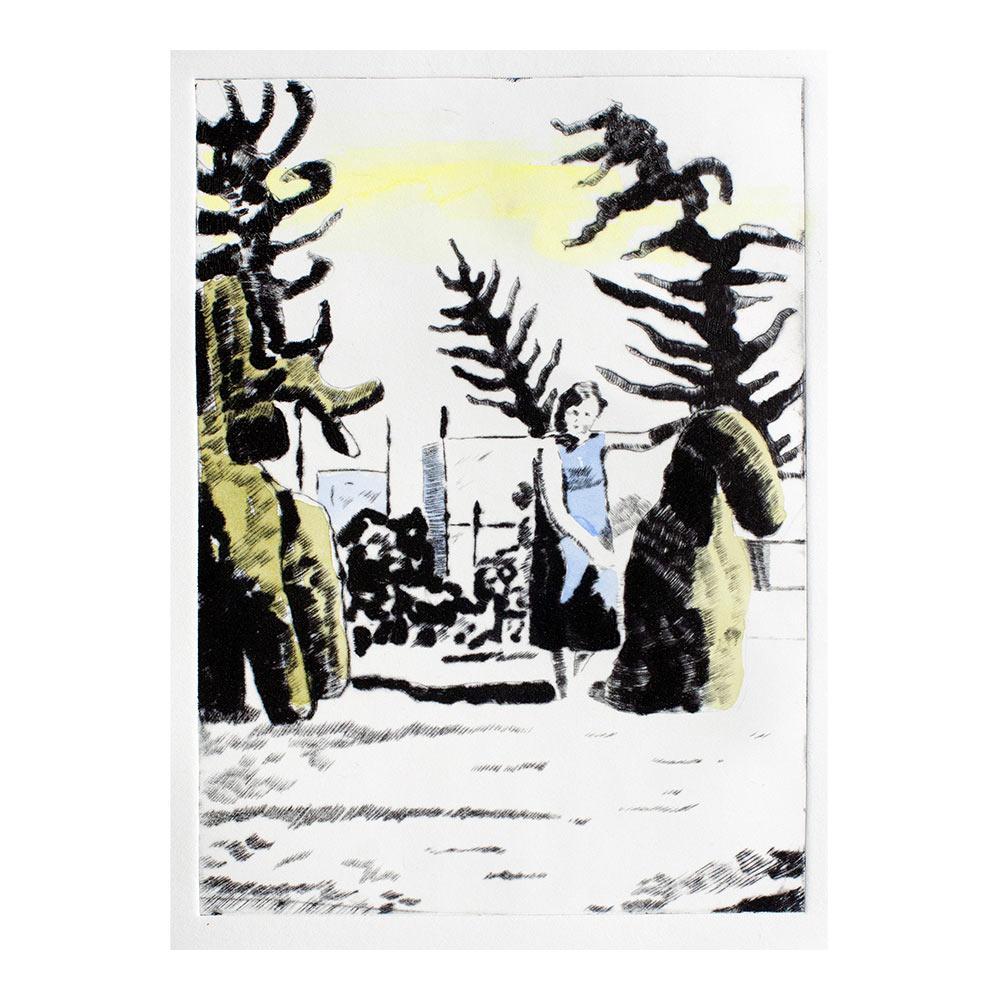 Buxus tree animals, 25 x 17 cm, droge naald met aquarelverf, oplage 2