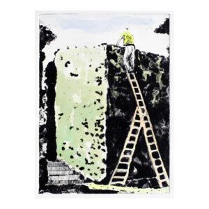 Hedgecutter A, 25 x 17 cm, droge naald met aquarelverf, oplage 2