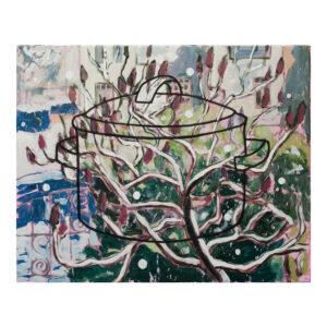 Hollandse winter, 40 x 50 cm, acrylverf en tempera op doek
