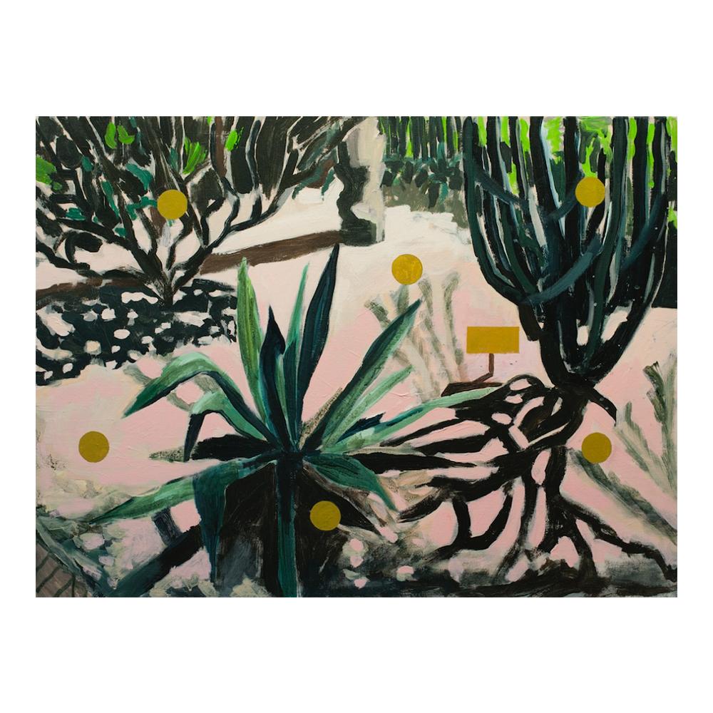 Majorelle tuin, 60 x 80 cm, acrylverf en olieverf op doek