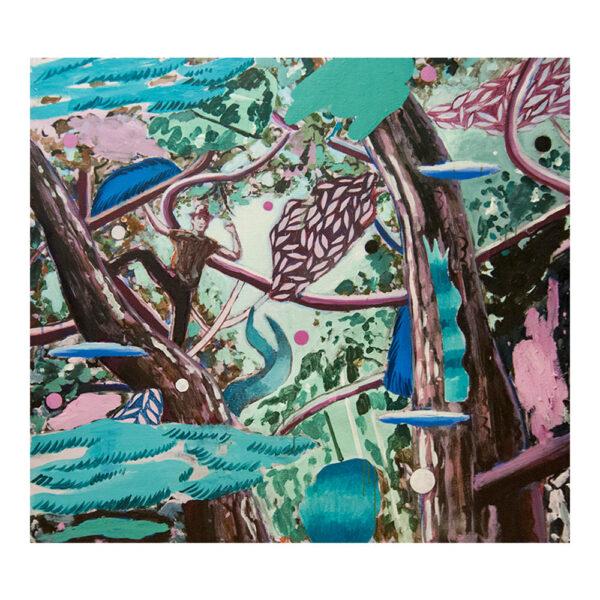 Moogli's Victory, 100 x 110 cm, acrylverf, olieverf en spuitbus op doek