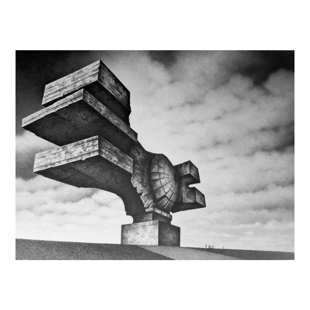 Myths of the Near Future, 21 cm x 16 cm, pencil on cardboard in frame 42 x 32 cm