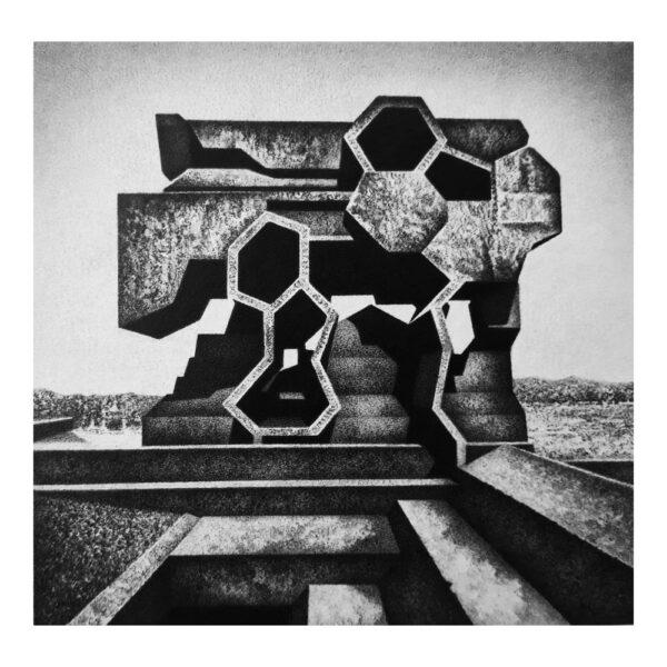 Necropolis, 13,5 x 13,7 cm, potlood op karton in lijst van 25 x 25 cm