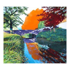 Oranje bomen bij kanaal, 100 x 90 cm, olieverf, spuitverf en acrylstift op doek