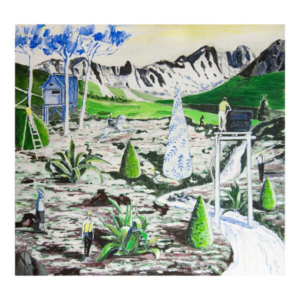 Paradise of distance, 120 x 130 cm, acrylverf, olieverf en pigment op doek