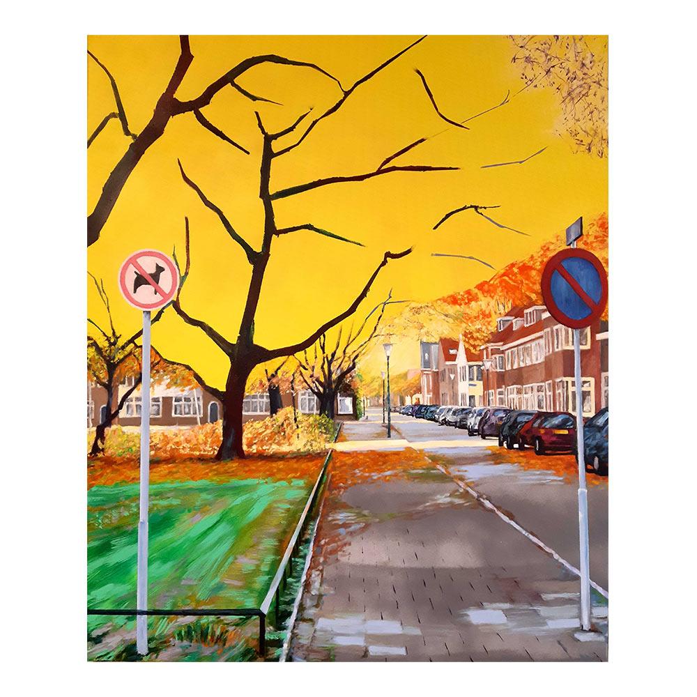 Park aan de Ranonkelstraat, 120 x 100 cm, olieverf, spuitlak en acrylstift op doek