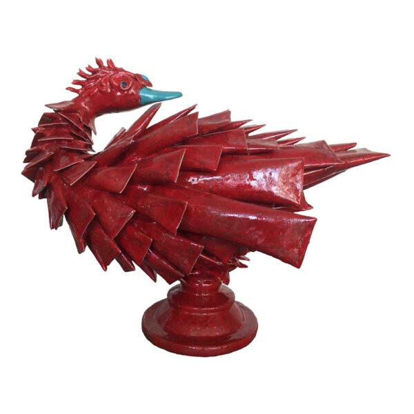 Red Junk Bird, 30 x 23 x 38 cm, porcelein