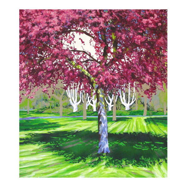 Rode Prunus in park, 90 x 80 cm, olieverf, spuitlak en acrylstift op doek