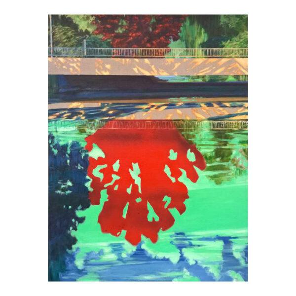 Rode boom reflecterend, 80 x 60 cm, olieverf, spuitverf en acrylstift op doek