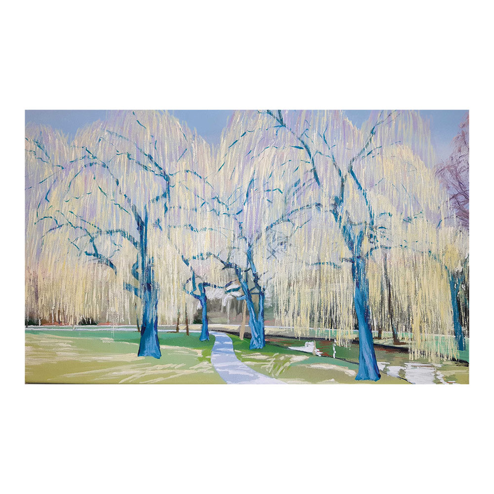 Teal willows, 40 x 66 cm, olieverf, spuitlak en acrylstift op doek
