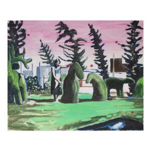 The animalbuxustree, 60 x 70 cm, acrylverf, olieverf en pigment op doek