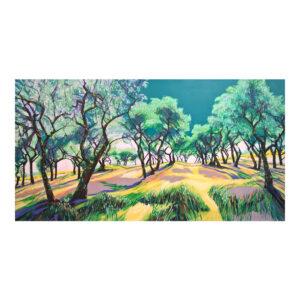 Witte wolken en groenblauwe lucht, 80 x 160 cm, olieverf, spuitverf en acrylstift op doek