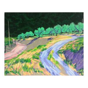 Zandweg naar olifboomgaard, 40 x 50 cm, olieverf, spuitlak en acrylstift opm doek