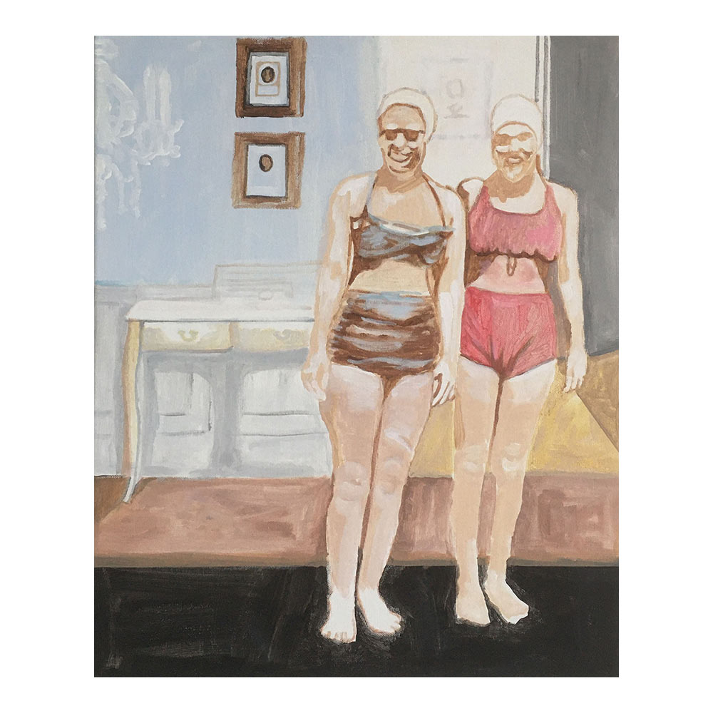 ochtendmeisjes, 50 x 40 cm, acrylverf op doek